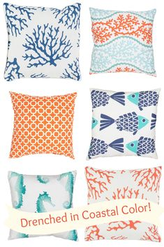Outdoor living - what can be a more fun way to celebrate a home at the shore?  Create a new outdoor room space with bright color drenched outdoor pillows!  So pretty that you will want them inside your beach home too -