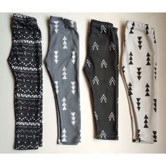 Black on White Triple Triangle Organic by LittleBowAndArrow