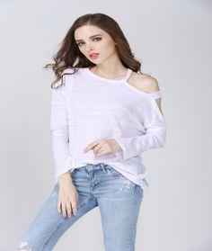 Fashion Cut Off Shoulder Long Sleeve Solid T-Shirt