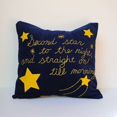 Neverland Star Applique Embroidery Pillow Cover Blue and Yellow. $30.00, via Etsy.