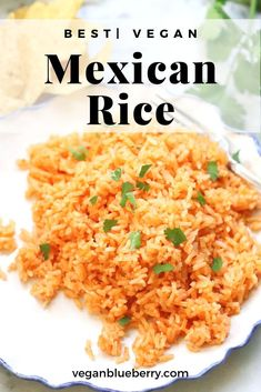 This easy Mexican rice is full of flavor and comes out light and fluffy every time! Always a family favorite. Baked in your oven or made in the instant pot, this healthy recipe is vegan, of course vegetarian and super delicious! #veganrecipes