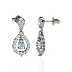 The Kate Earrings #customizable #jewelry #aquamarine #diamond #silver #earrings