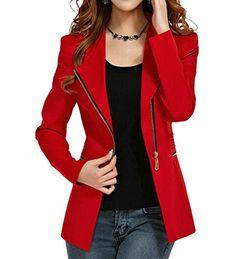 Womens Autumn Oversize Short Slim Bodycon Zipper Suit Coat Jacket Blazer Outwear at Amazon Women's Clothing store: