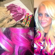 $1.00 for pink hair! Use a purple bingo dauber stamp your hair, you don't have to wait for it to dry. Wash and rinse then curl! Comes out so beautiful & pink. The pink dauber looks red when you stamp it to your hair after you rinse it. Now I don't have to spend $100.00 at my salon :) cheap & cute