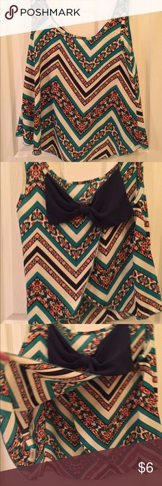 Tank top Blues & greens chevron tank top. with bow and open back. NWOT. not j crew, from target. XS but fits like a S J Crew Tops Tank Tops