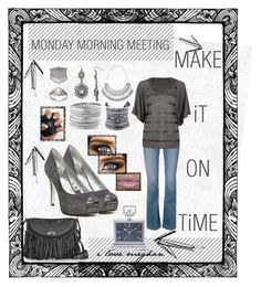 """➡⏰MONDAY MORNiNG MEETiNG➡MAKE iT  ON TiME⏰⬅"" by craftychick77 on Polyvore featuring Frame Denim, Full Tilt, Nine West, Aqua, LULUS, Avenue, Zadig & Voltaire, Plukka, Journee Collection and Universal Lighting and Decor"