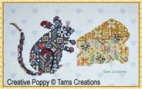 Tam's Creations - Mouseinpatches (cross stitch pattern chart) Here is the mouse in Tam's Creations wonderful series of cross stitch Patches series. Each pattern is exclusively made of cross stitches, with tiny motifs combining into one big picture. The pattern was stitched on printed Aida (pale blue hearts motif) from the DMC Impressions range for extra fun.