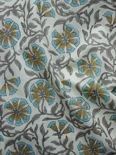 White Grey Olive Green Blue Hand Block Printed Cotton Fabric Per Meter - Buy Fabric, Cotton Fabric, Tye And Dye, Traditional Art, Printed Cotton, Olive Green, Print Patterns, Artisan, Grey