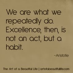 We are what we repeatedly do so get inspired! Read more at artofabeautifullife.com.