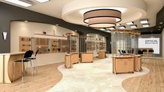 Beautiful dispensary design using Ovation freestanding displays and Omni wall displays from Fashion Optical Displays