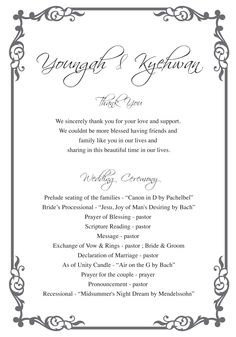 ceremony order
