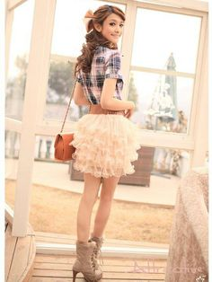 All-match Sweet Lovely Gauze Puff Skirt from CHICM.COM
