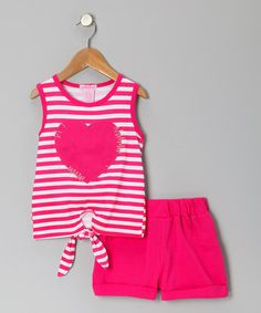 Take a look at this Fuchsia Stripe Heart Tie Tank & Shorts - Toddler & Girls by Girls Luv Pink on #zulily today!