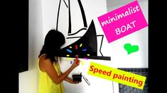 DIY : How to Paint a Black Floating Boat in a Minimalist Living Room - Speed Mural Painting Mural Painting, Mural Art, Floating Boat, Speed Paint, Painting Process, Acrylic Colors, Minimalist Living, Art Projects, Make It Yourself