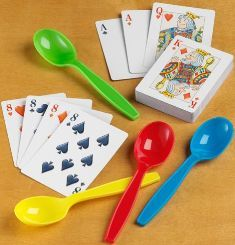 This game is just like musical chair. Instead of chairs and music we are playing this game with playing cards and spoons.