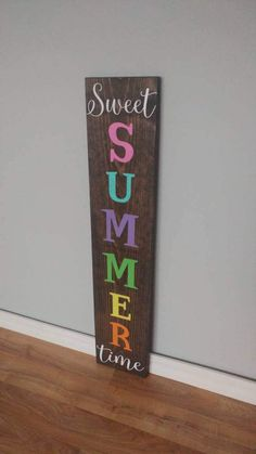 Sweet Summer Time Summer Sign Reversible Sign by EBABCreations Pallet Board Signs, Diy Wood Signs, Sign Boards, Chalk Design, Front Porch Signs, Porch Welcome Sign, Summer Signs, Bazaar Crafts, Cricut Craft Room