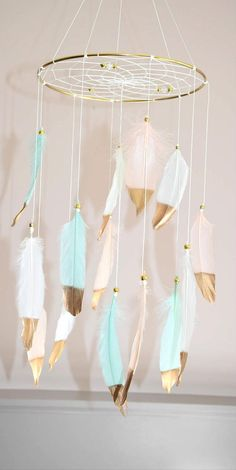 Baby Mobile Mint and Pink, Baby Girl Mobile Dreamcatcher, Baby Nursery Mobile, Mint Blush Feather Mobile, Modern Mobile, Baby Shower Gift