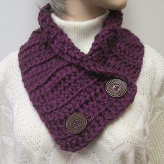 Dark Reddish Purple Chunky Scarf, Warm Winter Scarf, Womans Chunky Scarf, Fall Womans Scarf, Chunky Crochet Scarf, Knit Scarf,Fabiana B1-017 by CeciliaAnnDesigns on Etsy