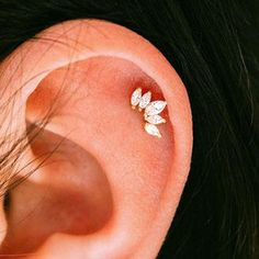 Simple Crystal Crown Cartilage Helix Ear Piercing Jewelry Ideas for Women - lin. - Simple Crystal Crown Cartilage Helix Ear Piercing Jewelry Ideas for Women – lindas ideas para pe - Helix Earrings, Emerald Earrings, Cartilage Earrings, Crystal Earrings, Crystal Jewelry, Cute Ear Piercings, Ear Piercings Cartilage, Body Piercing, Helix Piercing Stud