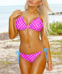 Look what I found on #zulily! Pink & White Polka Dot Triangle Bikini by In Gear #zulilyfinds