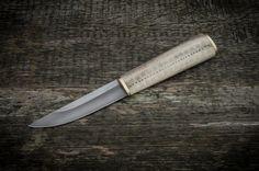Engraved antler handle knife.