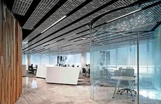 The ENTEL office interior in Santiago de Chile has perforated false ceilings in a PURE Bright Brushed finish. Hunter Douglas, Office Interior Design, Interior Exterior, Interior Decorating, Corporate Interiors, Office Interiors, Gypsum Ceiling Design, Metal Ceiling, Workplace Design