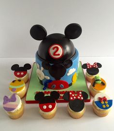 Mickey Mouse Clubhouse  Mickey Mouse Clubhouse Mickey Mouse clubhouse cake and all the gang on matching cupcakes. Topper is styrofoam made by following Krazy Kool... #featured-cakes #disney #mickey-mouse #top-cakes #cakecentral