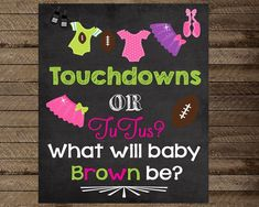 Gender reveal sign gender reveal party decoration by InJOYPrints Gender Reveal Themes, Gender Reveal Party Decorations, Gender Reveal Invitations, Party Invitations, Party Favors, Gender Party, Baby Gender Reveal Party, Halloween Gender Reveal, Football Themes