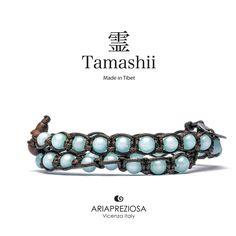 Tamashii - Bracciale Lungo Tradizionale Tibetano 2 giri Agata Azzurra (Sky Blue)
