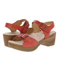 Raspberry Davia Leather Sandal