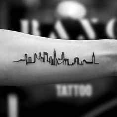 Minimalist Small City Skyline Inner Forearm Tattoos For Guys tattoos for women # Tattoo Designs Small Tattoos Men, Small Tattoo Arm, Inner Forearm Tattoo, Trendy Tattoos, Popular Tattoos, Tattoos For Women, Forearm Tattoos For Guys, Cool Guy Tattoos, Nyc Tattoo