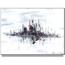 Stadt Skyline Gemälde Malerei Bild Acryl XXL modern abstrakt 100 x 80 x 4 cm