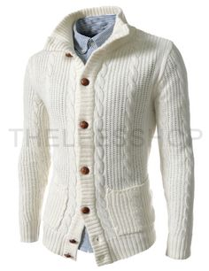 (LAC01-IVORY) Slim Fit Turtle Neck Twist Knitted 8 Button Cardigan
