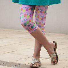 Girls Pink Popsicle NAME Arden Capri Leggings