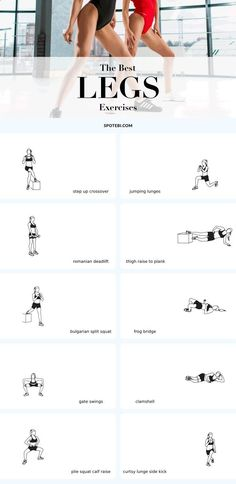 Top 10 exercises for sexy, toned and strong legs! Want short-shorts worthy legs? Then it's time to take the traditional squats and lunges to the next level. This is our selection of the best leg exercises for women to help you sculpt not only your hamstrings, quads, and calves but also your inner and outer thighs, hips and glutes. Add these multi-muscle and leg-defining moves to your routine and you will get there in no time at all! www.spotebi.com/...