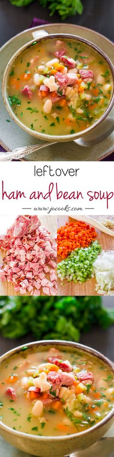Leftover Ham and Bean Soup - perfect use of that leftover ham from Thanksgiving or Christmas dinner. This soup is delicious, hearty and smells heavenly.