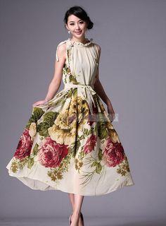 Polished Bohemian Chiffon Floral Imprint Maxi Dress: Perhaps a re-model of my mom's dress?