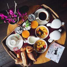 Breakfast morning call ☕️ Hotel de Banville Paris; coffee, fresh fruits; colorful life