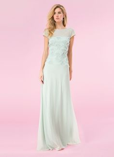 Tadashi Shoji Rosette Scallop Tulle and Grid Corded Tulle Cap Sleeve Gown