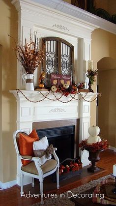 Fall/Halloween Fireplace mantle. Great use for our lighted twig branches!     http://www.melroseintl.com/p-2282-bk-branch-w64-or-lights-42l-wireplastic-10-cord-w24v-us-electrical-adapter.aspx