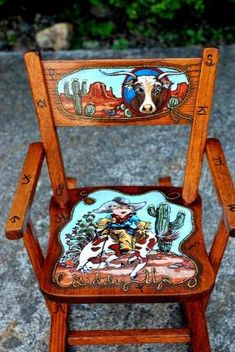 Childrens rocking chair, hand painted by latasha