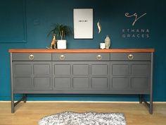professionally painted dark grey & Teak Nathan sideboard