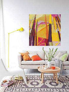 Bold colorful Abstract art landscape painting by Danielle Nelisse completes interior design accessories | abstract art for living room | acquire this oil painting on gallery wrapped canvas at www.daniellenelisse.com | free shipping + 7 day return policy | standard interior designer discount