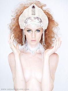 Miyu Decay OOAK Off White Kokoshnik Headdress by MiyuDecay on Etsy, $200.00