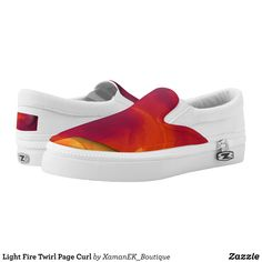 Light Fire Twirl Page Curl Slip-On Sneakers - Printed Unisex Canvas Slip-On #Shoes Creative Casual #Footwear #Fashion #Designs From Talented Artists - #sneakers #feet #fashion #design #fashiondesign #designer #fashiondesigner #style - Look sporty stylish and elegant in a pair of unique custom sneakers - Each pair of custom Low Top ZIPZ Shoes is designed so you can fit your style to any wardrobe mood party or occasion - Fashionable sneakers for kids and adults give you a unique and…