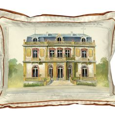 Parisian architectural 100% Silk handpainted pillow - Companion from Metrohouse Designs for $345.00 on Square Market