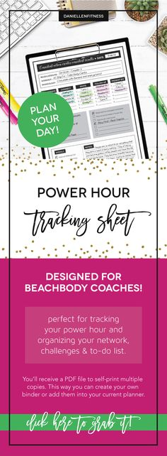POWER HOUR tracking sheet!! If you're a Beachbody Coach, this is the perfect tool for planning and tracking your daily power hour to-do list! Do the vital behaviors, check into your challenge groups, post on your social media pages and ROCK your biz! // power hour // beachbody coach // coach resource // coach tool // coach planner // coach tracking sheet // powerhour sheet // beachbody powerhour // beachbody power hour