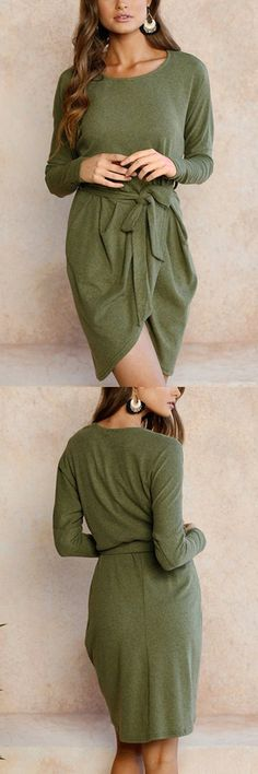 Army Green Tie-up Front Asymmetrical Mini Dress