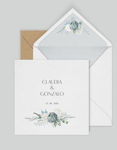 Wedding invitation  Winter style  Invitación de boda  Sobres forrados
