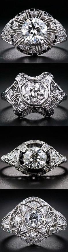 Art Deco Platinum and Diamond Rings.: